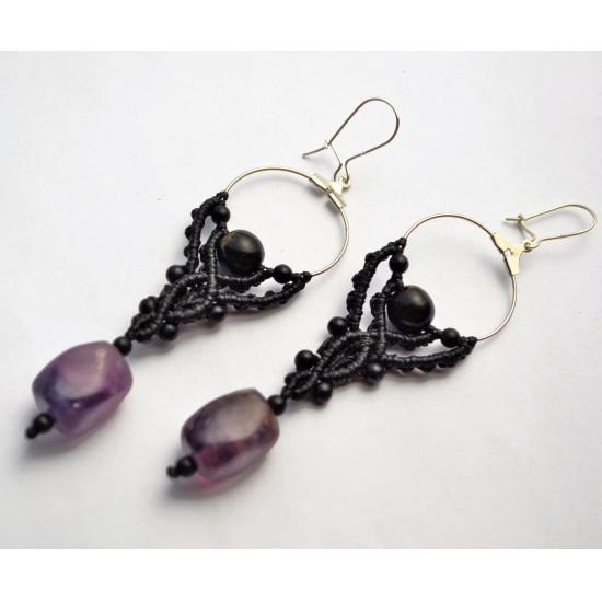 Black Coral & Flourite Stone Unique Macrame Earrings
