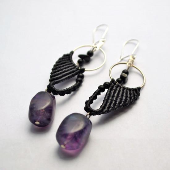 Unique Macrame Earrings with Flourite Gemstone Black Coral Hematite & Black Onyx