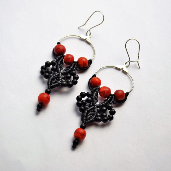 Black and Red Coral Hippie Handmade Unique Macrame Earrings
