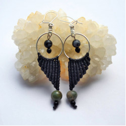 Unique Macrame Earrings with Gems,Jusper, Black Coral  and Snow Flake