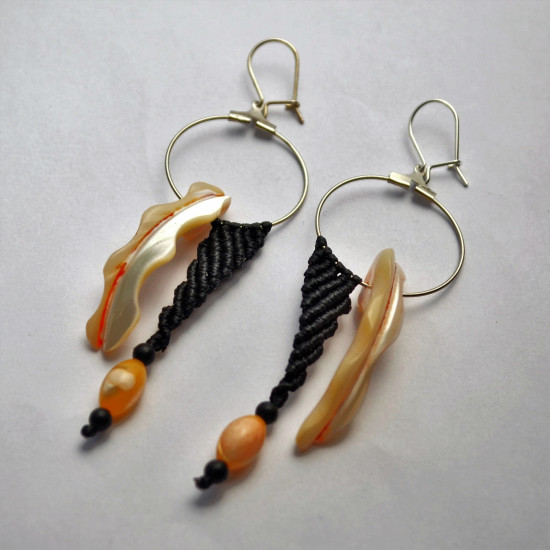 Paua Shell Handmade Unique Macrame Earrings