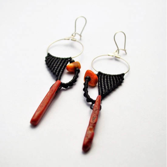 Handmade Red Coral Unique Macrame Earrings
