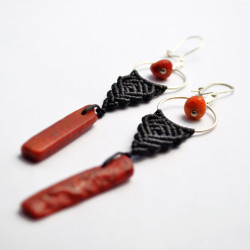 Red Coral Unique Macrame Earrings