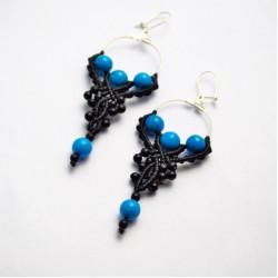 Unique Black Coral & Tirquaze Stone Handmade Macrame Earrings