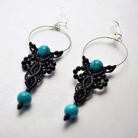 Black Coral & Tirquaze Gemstone Unique Macrame Earrings