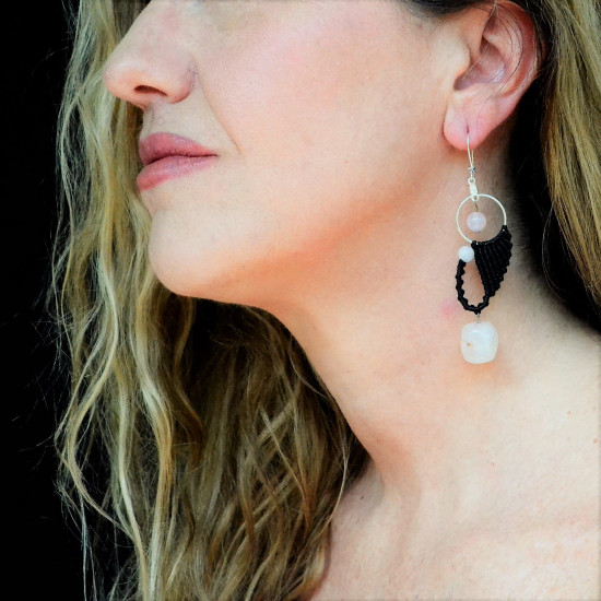 Roze Quartz Unique Macrame Earrings