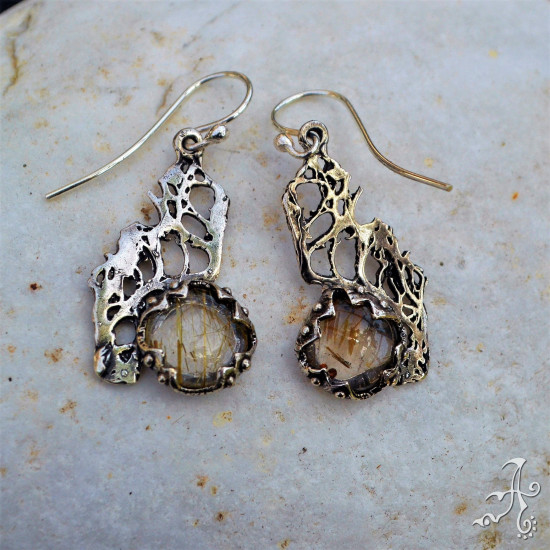 Handcrafted 925 Silver Long Earrings with Golden Rutile Quartz Gemstone