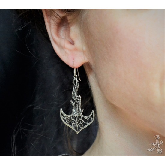 Anchor Shape Genuine Silver Handcrafted Earrings