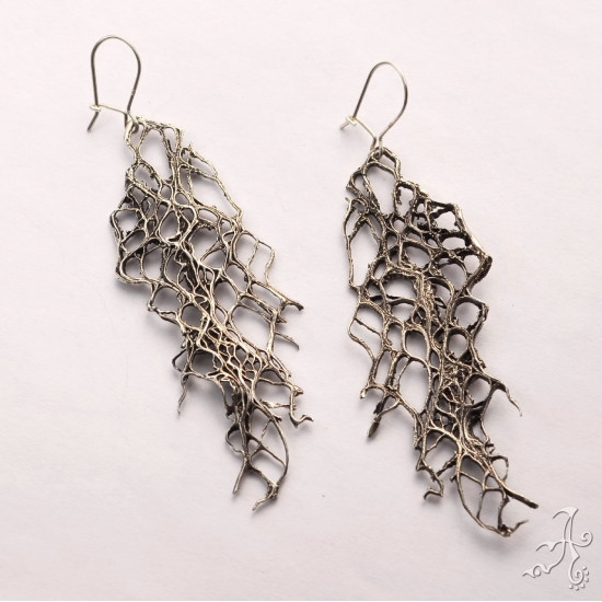 Big Long Plant Fibers Handcrafted Solid Silver Earrings