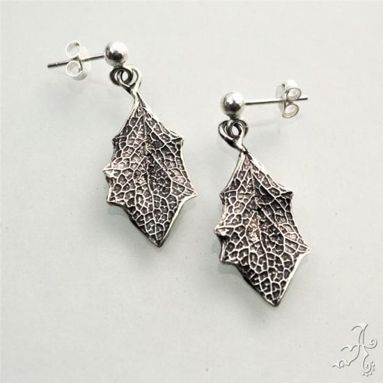 Handmade Bush Leaf 925 Sterling Silver Stud Earrings