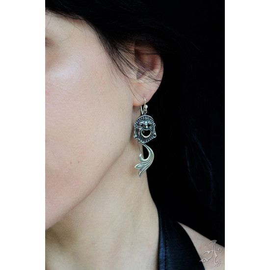 Comedy Face Mask, Dangle & Drop Sterling Silver Handcrafted Earrings