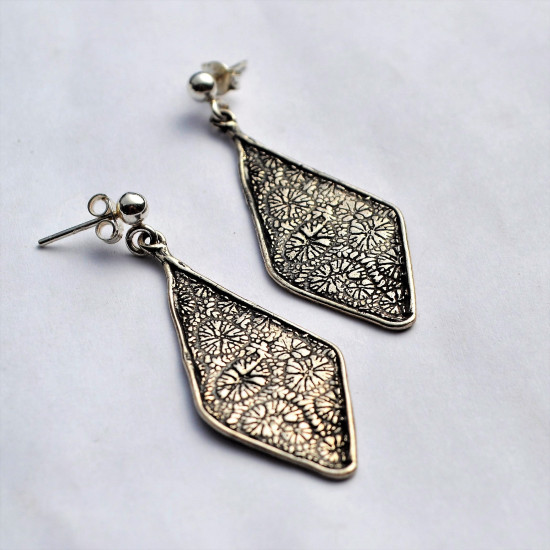 Coral Flower Diamond Shape Oxidized Silver Earrings