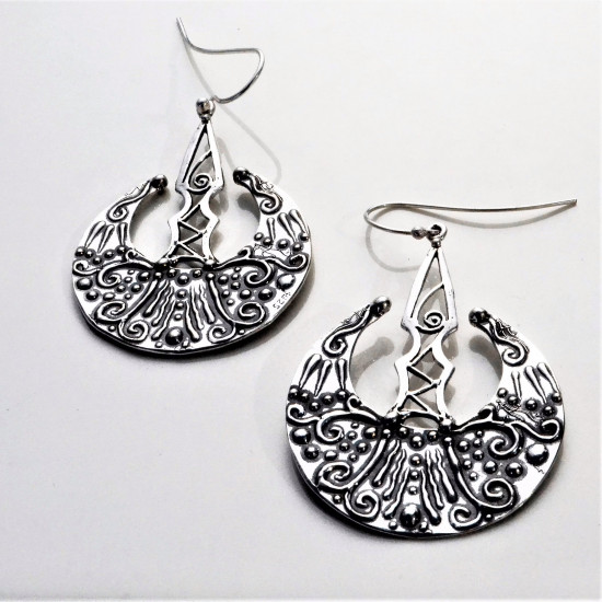 Double Sided Handcrafted Sterling Silver Long Earrings