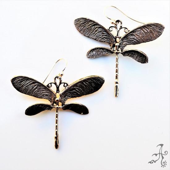 Dragonfly Solid Silver Handmade Long Earrings