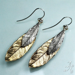 Real Olive 925 Silver Brass Leaf Earrings
