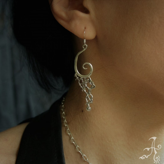 Genuine Silver Handcrafted Spiral Earrings with Plant fibers