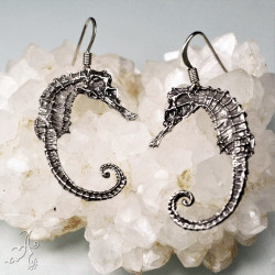 Genuine Silver Real Seahorse Handcrafted Earrings