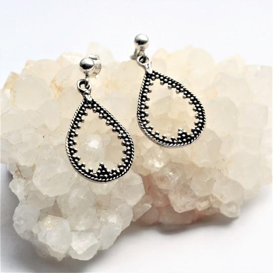 Granulated Genuine Silver Handmade Earrings