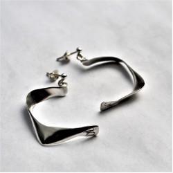 Half Moon Shape Solid Silver Handmade Earrings