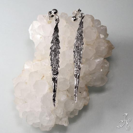 Genuine Silver Handcrefted Real Cannabis Hemp Leaves Long Dangle Earrings