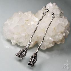 Flower Bell Long Dangle Earrings in 925 Genuine Sterling Silver