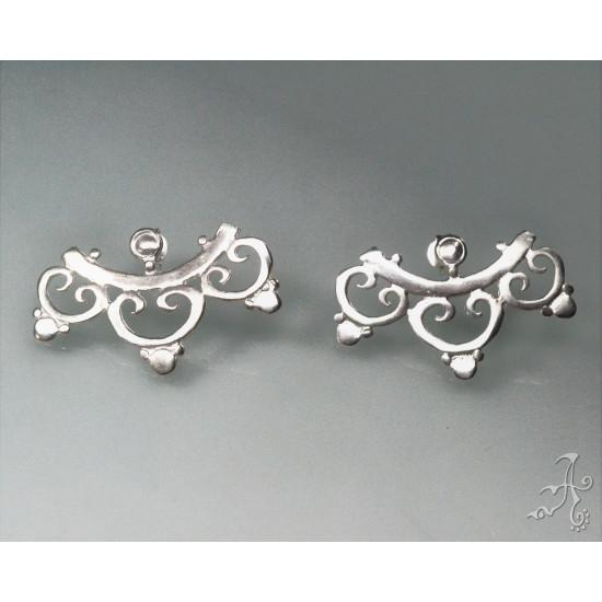 Handcrafted Lotus Leaves Sterling Silver Stud Earrings