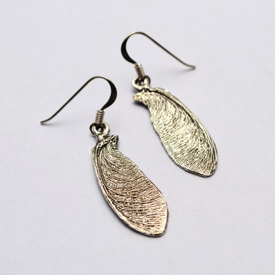 Handcrafted Maple Tree Leaf 25 Silver Long Earrings