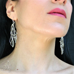 Handcrafted Real Pinecone Long Dangle 925 Silver Earrings