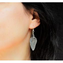 Sage Real Leaf Earrings in 925 Genuine Sterling Silver