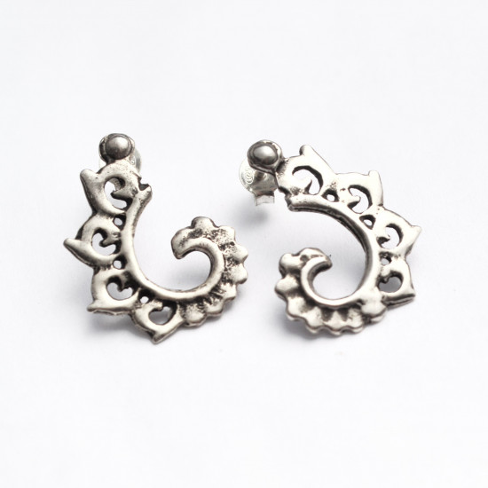 Handcrafted Spiral Silver Stud Dainty Earrings