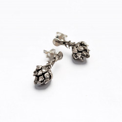 Handcrafted Silver Pinecone Stud Earrings