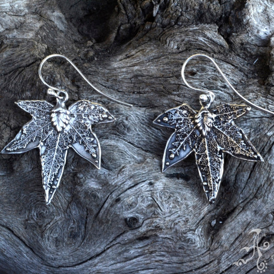 Handcrafted Sycamore Tree Leaf Sterling Silver Earrings