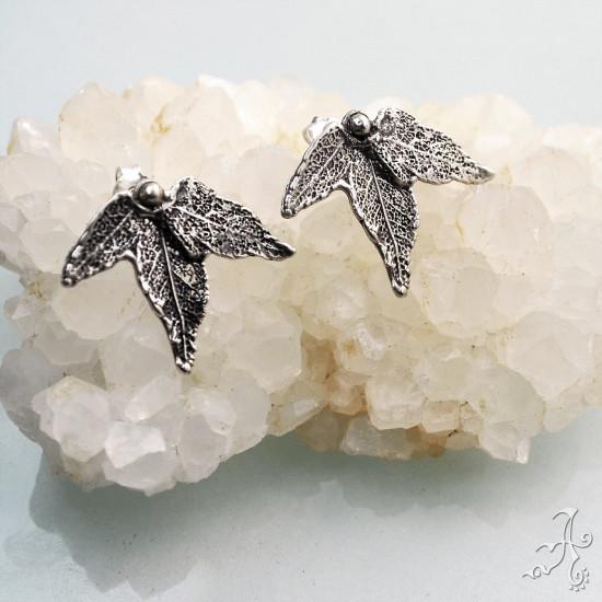 Sycamore Leaves Sterling Silver Stud Earrings