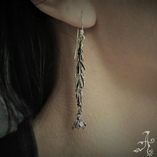 Handmade Long Elegant Pine Cone Sterling Silver Earrings