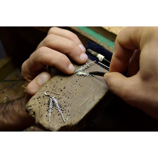 Handmade Thistle Leaf Earrings in 925 Genuine Sterling Silver