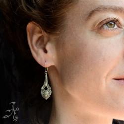 Heart and Arrow Long Dangle Silver Earrings