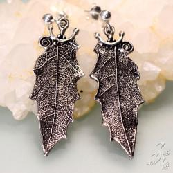 Holly Leaf Handcrafted in 925 Genuine Sterling Silver Earrings