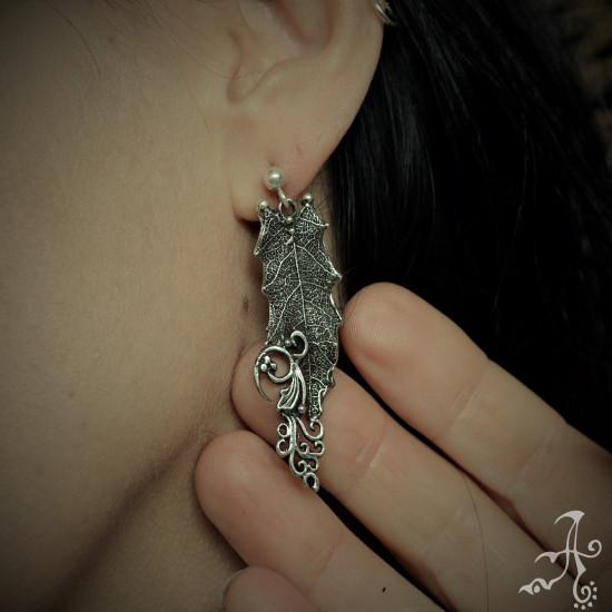 Holly Oak Leaf Long Sterling Silver Earrings