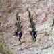 Handmade Sterling Silver Dangle Drop Hook Earrings with Silver Plant Fibers and Amethyst Gemstone