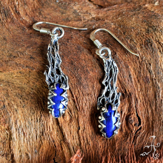 Handmade Long Sterling  Silver Earrings with Blue Lapis Lazuli Gemstone