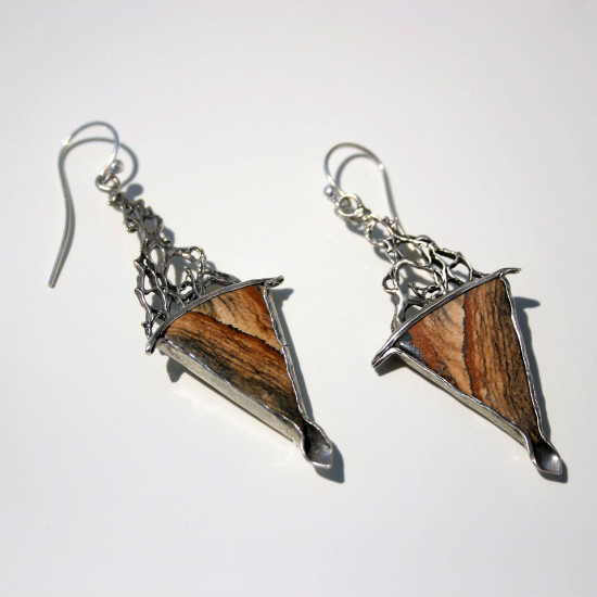 Handcrafted Sterling Silver Dangle Drop Hook Earrings with Picture Jasper Stone