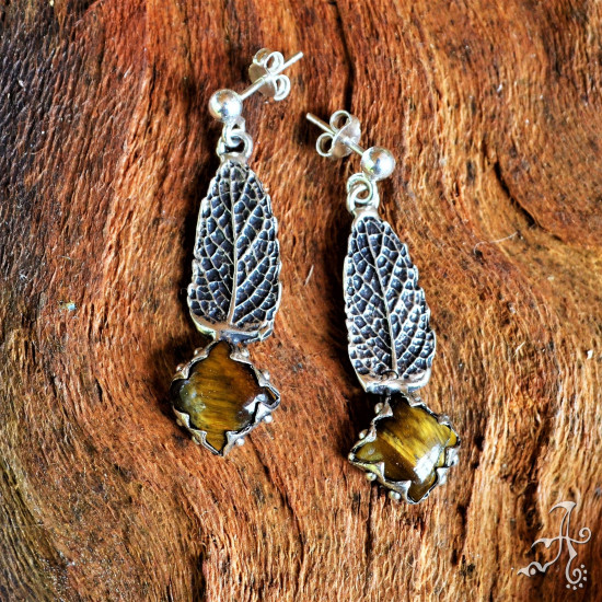 Handcrafted Sterling Silver Real Mint Leaf Earrings with Tiger Eye Gemstone
