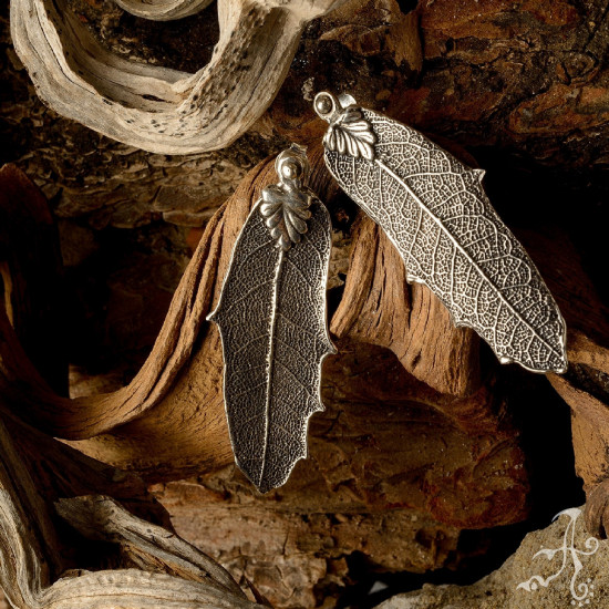 Oak Leaf 925 Sterling Silver Long Stud Earrings