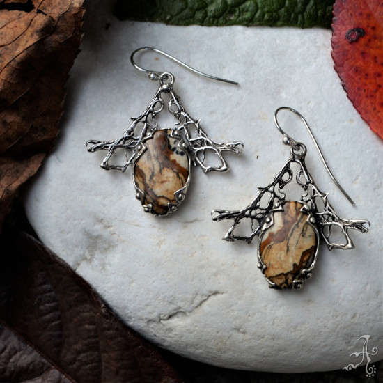 Unique Handcrafted 925 Silver Earrings with Picture Jasper Gemstone