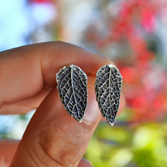 Real Mint Leaf 925 Silver Handcrafted Earrings