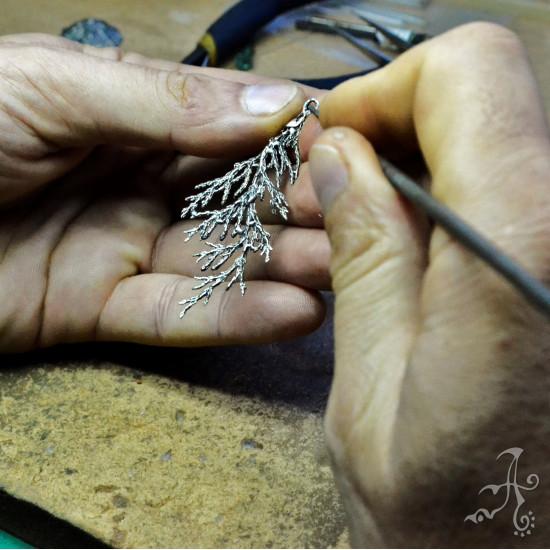 Real Sypress Leaf Silver Earrings