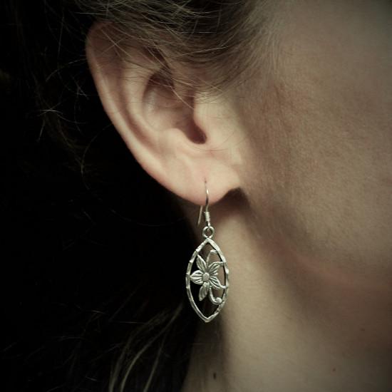 Silver Framed Flower Sterling Silver Earrings
