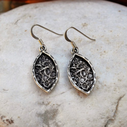 Handmade Silver Framed Fibers Earrings