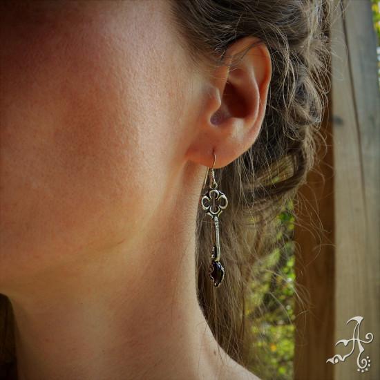 Handmade Sterling Silver Key Earrings with Red Garnet Gemstone