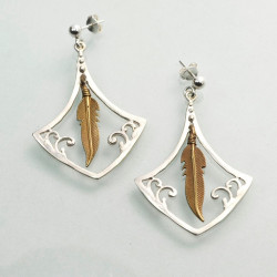 Solid Silver Frame Gold Feather Handmade Earrings